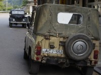 Old military-type jeeps in the country towns. To be fair, the more modern Lada Niva is much more common.