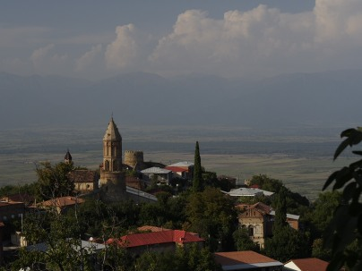 Sighnaghi, looking north towards the Greater Caucasus