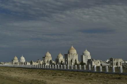 Typical Kazakhstan desert cemetary