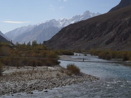 Afghanistan on the left, Tajikistan on the right. At least, I think so. Maybe that's a Tajik island?