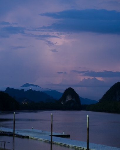 Krabi, clouds lit up by lightning