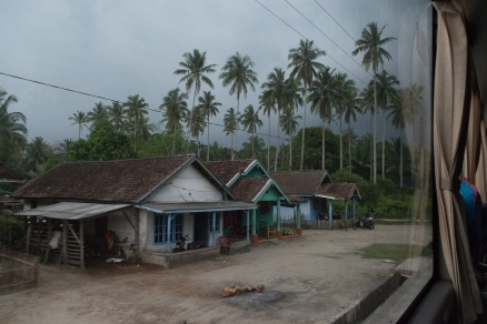 Our road into Java - view from bus. Probably actually Sumatra, as it's evening.